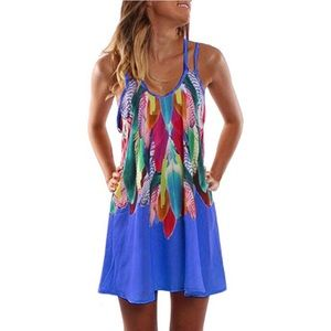 Feathers Swim Cover Up Dress